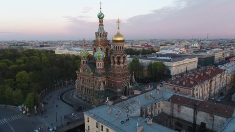 Flying over the Church of the Savior Blood in Saint Petersburg Russia  in the sunny day