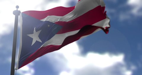 Puerto Rico flag is waving at a beautiful and peaceful sky in day time while sun is shining. 3d rendering.
