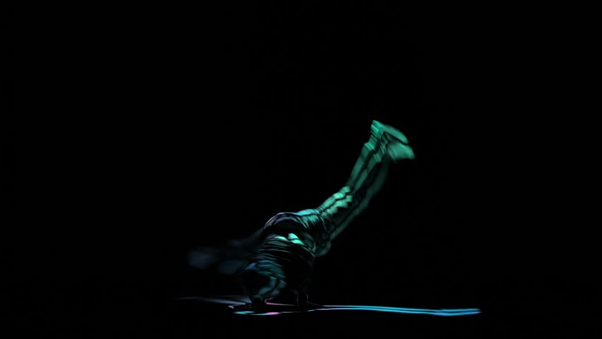 Brake dance perform silhouette man on black background, computer graphics