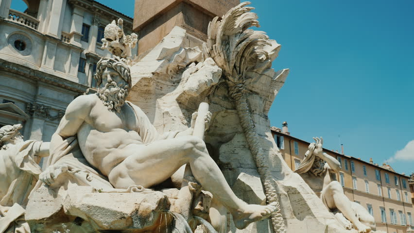 Steadicam shot: Four Rivers fountain in Piazza Navona in Rome Italy.   Shutterstock HD Video #28894267
