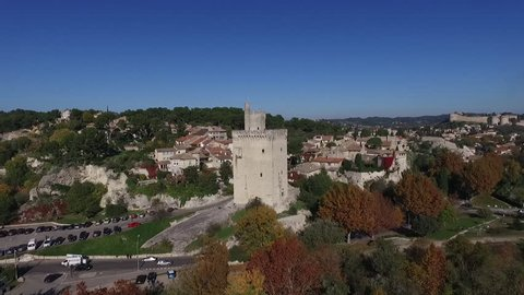 VILLENEUVE LES AVIGNON FRANCE NOV 2016 - AERIAL VIEW  OF THE PHILIPPE LE BEL TOWER FROM RHONE RIVER. FALL ATMOSPHERE IN PROVENCE.