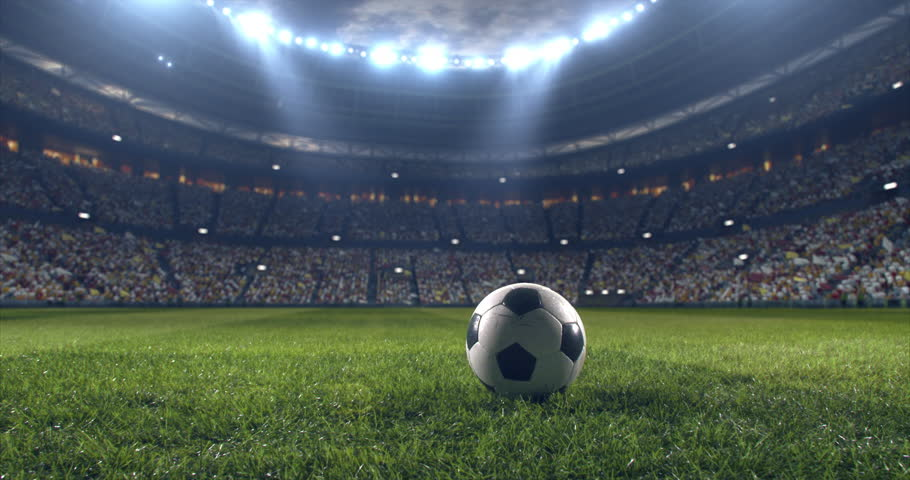 Footage of a dramatic soccer stadium. The stadium was made in 3d without using existing references. The crowd and light on the stadium are animated. | Shutterstock HD Video #28910785