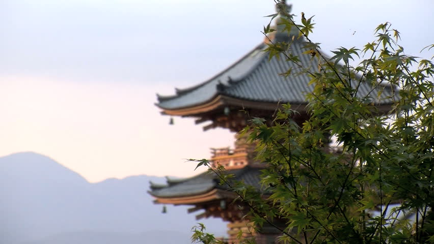 KYOTO, JAPAN - CIRCA 2012: Slide from the tree with focus at the pagoda of the Kiyomizu temple