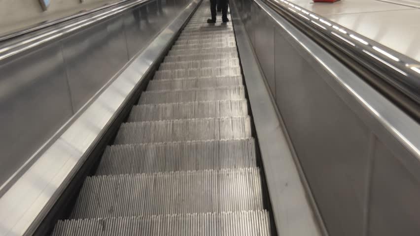 Escalator In The Underground Metro.   4K Stock Video Clip