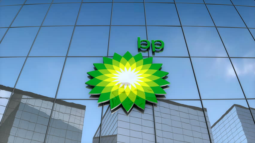 Editorial use only, 3D animation, BP logo on glass building.