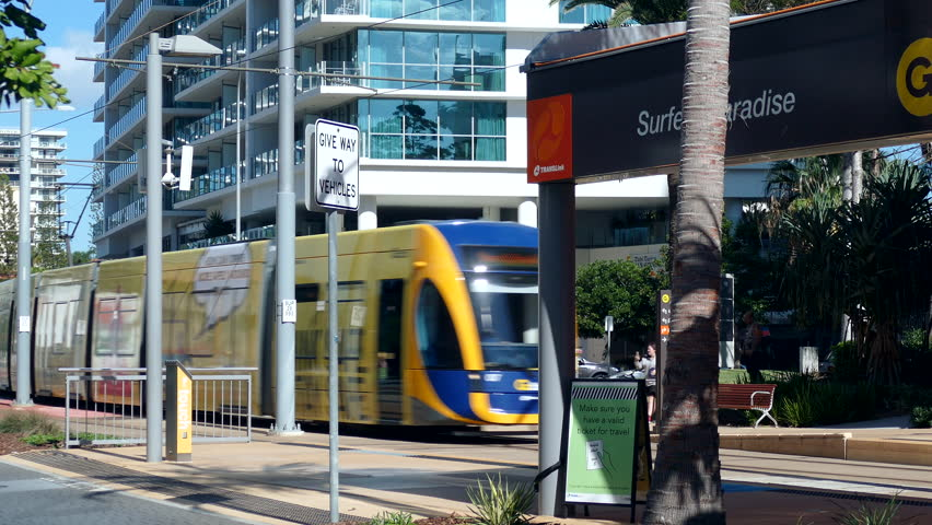 SURFERS PARADISE, AUSTRALIA – October 8 2016: The Gold Coast Light Rail system in Queensland.  | Shutterstock HD Video #28953385