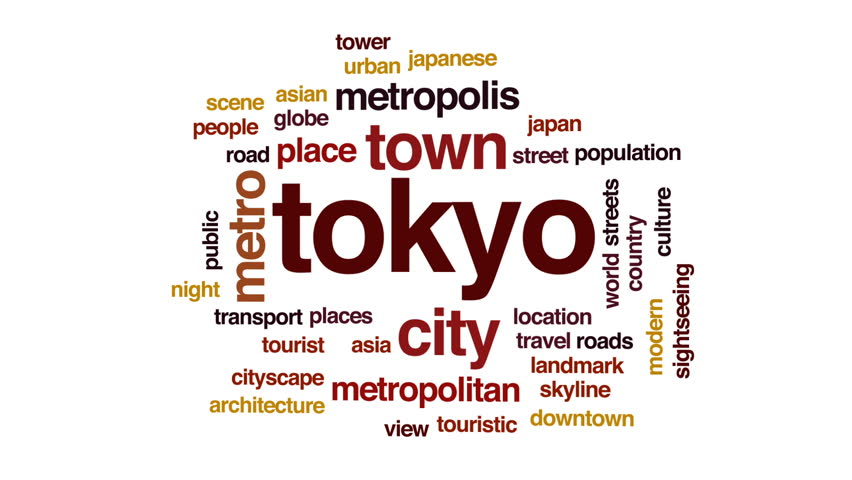 Tokyo animated word cloud, text design animation.   Shutterstock HD Video #28965595