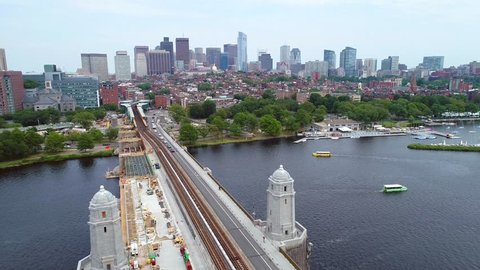 Aerial footage Beacon Hill Boston 4k 60p