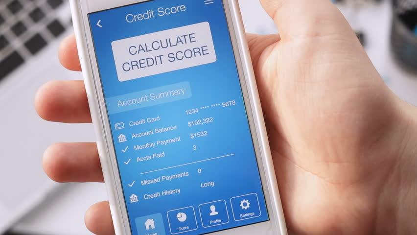 Checking credit score on smartphone using application. The result is EXCELLENT | Shutterstock HD Video #28996015