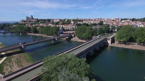 BEZIERS FRANCE  - DRONE VIEW ON THE CITY FROM THE CANAL DU MIDI