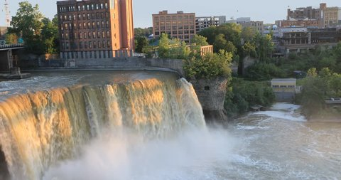 4K UltraHD View of the High Falls at the city of Rochester, New York