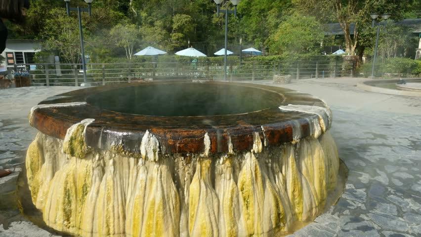 Hot springs pool at Raksawarin Public Park in Ranong, Southern Thailand