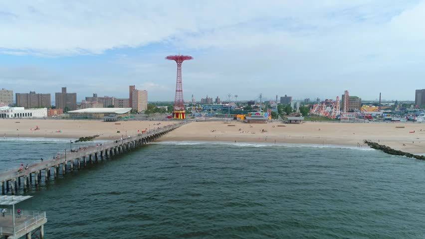Slow motion aerial video Coney Island pier