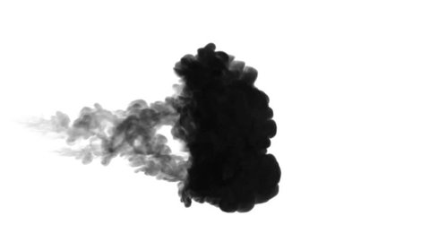One ink flow, infusion black dye cloud or smoke, ink inject on white in slow motion. Black tint dissolve in water. Inky background or smoke backdrop, for ink effects use luma matte like alpha mask