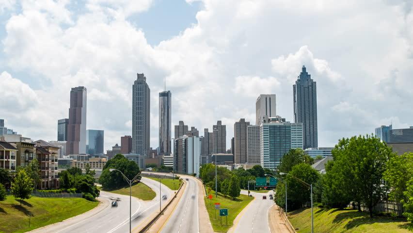 Atlanta traffic time lapse with traffic 4k 1080p - time lapse of traffic and clouds in atlanta georgia