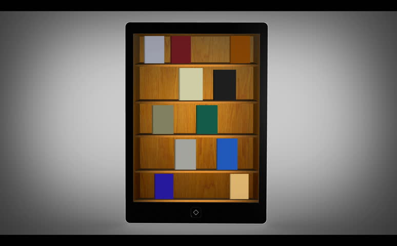 Animated Bookshelf With Travel Catalogue Stock Footage Video 100
