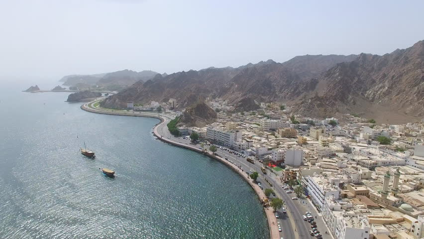 Aerial view of cityscape of Muscat, harbor and capital city of Oman, sultanate on Arabian Peninsula, 4k UHD  | Shutterstock HD Video #29104375