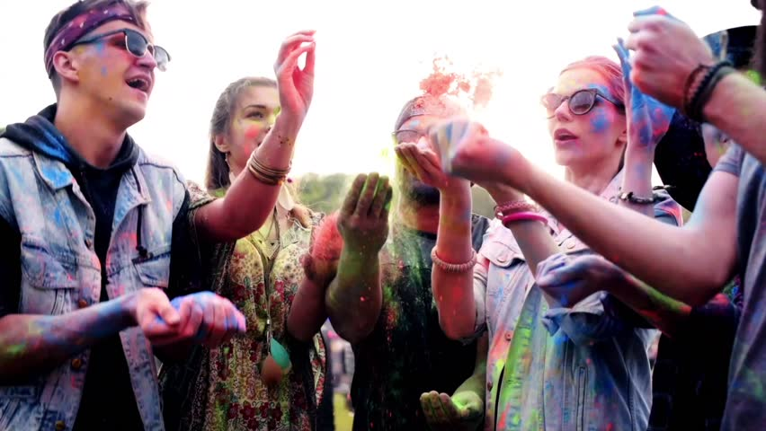 People throwing the powder colors at the festival  | Shutterstock HD Video #29105755