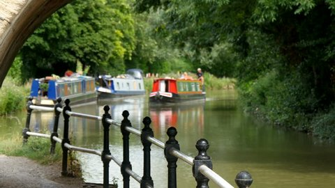 Narrowboats on Kennet and Avon Canal, Wiltshire, UK