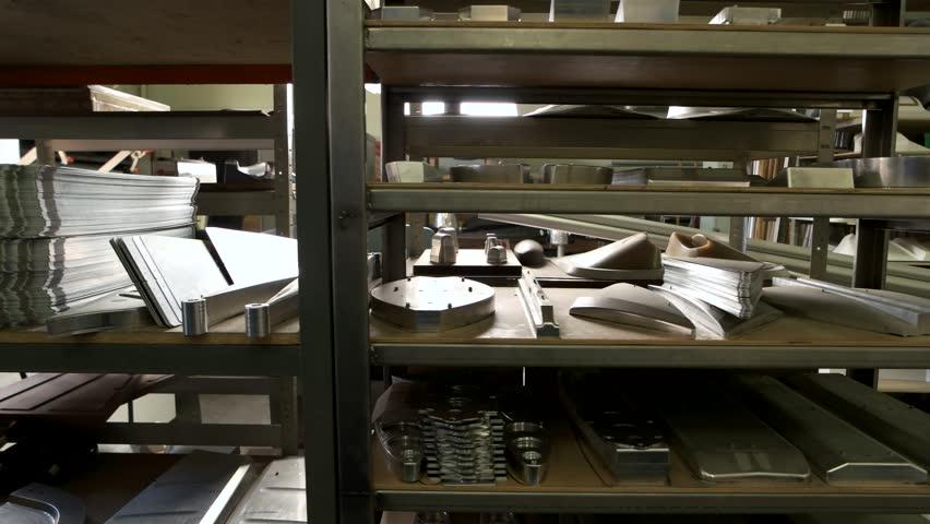 Storage of steel parts. New metal details on shelves.   Shutterstock HD Video #29136985