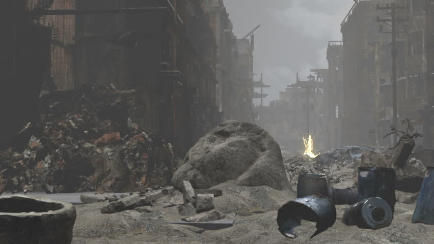Street level , dolly left to right through the rubble and debris in a Post apocalyptic city.
