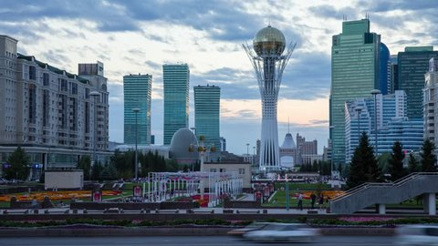 ASTANA JULY 2017:  Evening view of the central street and Baiterek