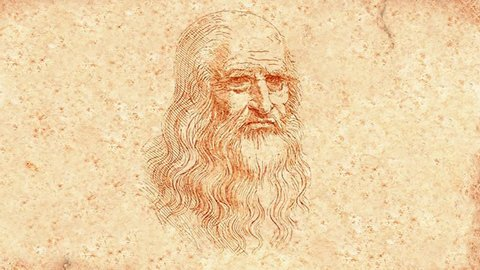 Leonardo Da Vinci winks and smiles (animation)