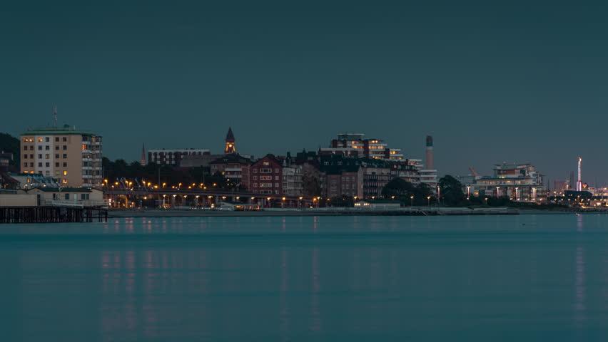 Time lapse of Helsingborg in dusk