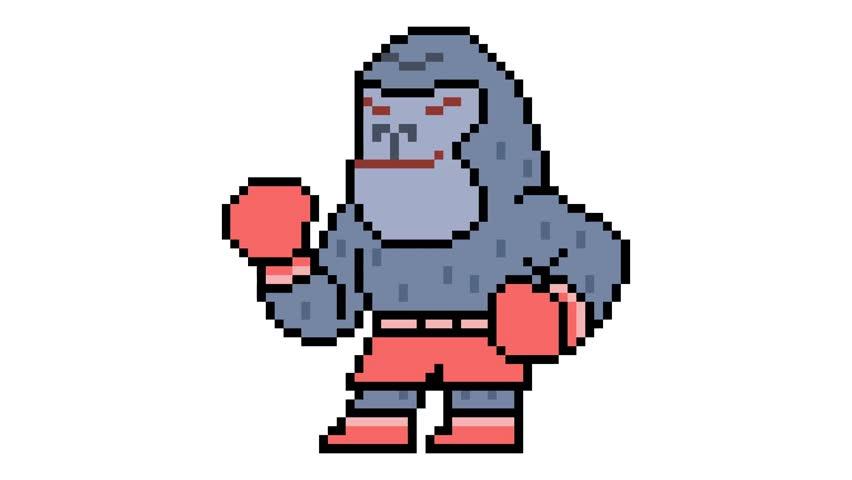 pixel art gorilla animation