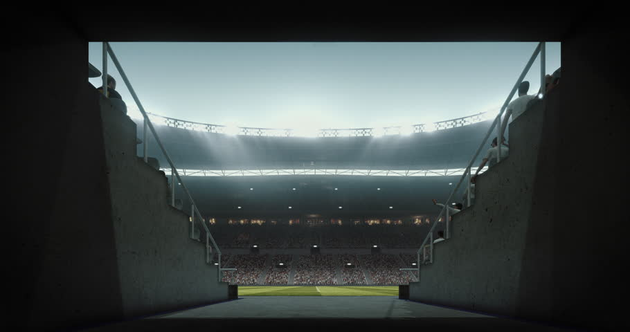 Footage of an empty dramatic soccer stadium. The stadium was made in 3d without using existing references. The crowd and light on the stadium are animated. | Shutterstock HD Video #29182675
