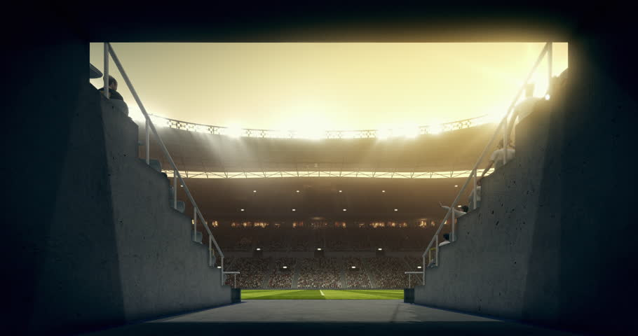 Footage of an empty dramatic soccer stadium. The stadium was made in 3d without using existing references. The crowd and light on the stadium are animated.