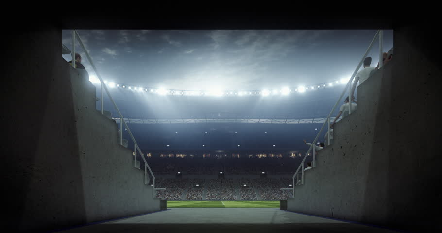 Footage of an empty dramatic soccer stadium. The stadium was made in 3d without using existing references. The crowd and light on the stadium are animated. | Shutterstock HD Video #29182735