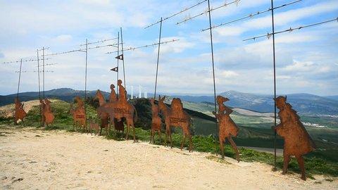 Camino de Santiago from Pamplona to the Puente la Reina, Escultura al Camino de Santiago, Imagen de la Virgen del Perdon, Spain, Europe.