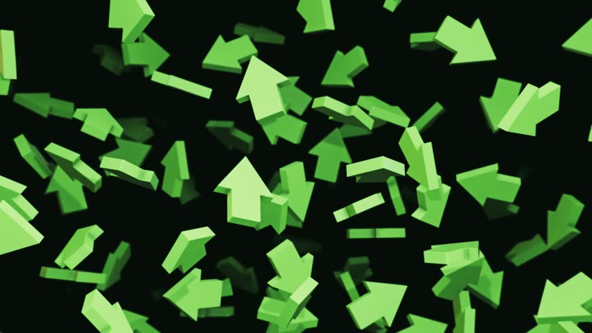 Seamlessly looping 3d animation featuring variously oriented green arrows floating and rotating against a black background. | Shutterstock HD Video #29229565