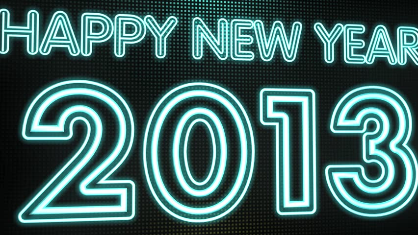 Animation of a Neon Sign Lighting Up the New Year 2013