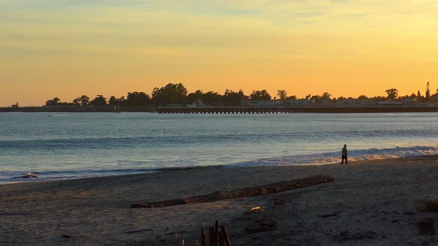 The Pacific Ocean At Santa Cruz Breakwater Aka Walton Lighthouse Sunset
