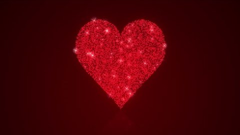 Sparkling Red Heart Reflective Background Loop with Matte / A 12 second looping animation of heart shape over a reflective spot lit background with matte included.