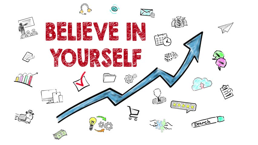 Believe in Yourself. Hand Drawn Icons Around on the White Background
