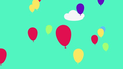 Colorful flag cartoon Balloons flying in slow motion, Festive and Party Video Background, Lots of colorful balloons rise up over blue background full hd and 4k. happy birthday card children background