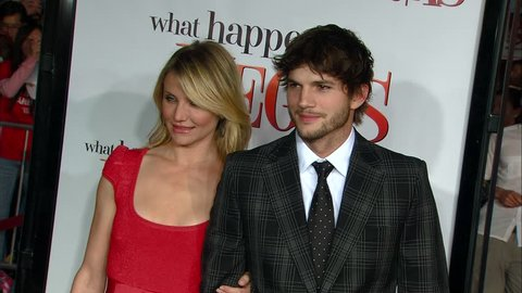 Los Angeles, CA - MAY 01, 2008: Cameron Diaz, Ashton Kutcher, walks the red carpet at the What Happens In Vegas Premiere held at the Mann Village Theatre