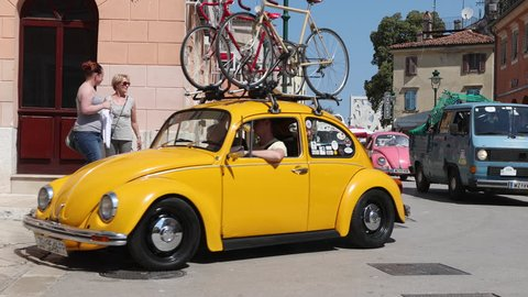 ROVINJ - MAY 2017 - A volkswagen beetle convention in the city of rovinj , Croatia