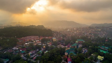 Baguio, Philippines - May 1, 2017: Baguio Timelapse view showing aerial hyperlapse over the city neighborhoods