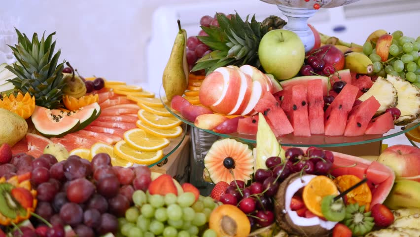 Different Fresh Fruits On Wedding Stock Footage Video 100 Royalty