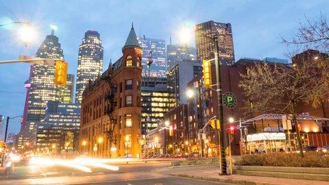 Downtown Toronto Flatiron building Night Traffic Timelapse