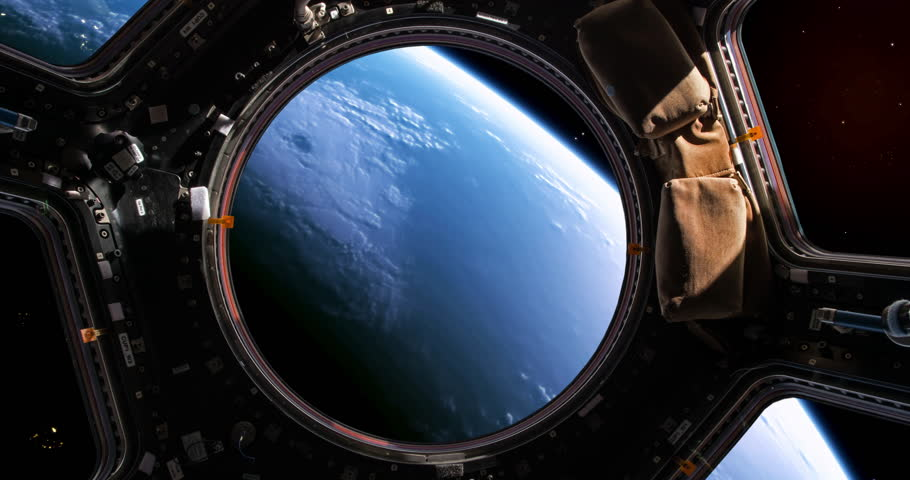 Planet earth viewed through the windows of a space shuttle, version 2, please also see version 1.