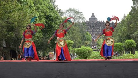 BOROBUDUR, INDONESIA - APRIL 2017: Student traditional dance competition in front of Borobudur temple complex in Indonesia