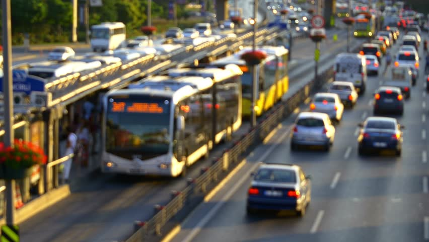 Out of focus, Time Lapse. Istanbul top spot in traffic congestion index in 2014. Incirli Metro Bus Stop with yellow buses