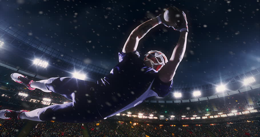 American football player jumps with a ball on a professional sports arena with bleaches full of people. Arena and people on it are made in 3D.