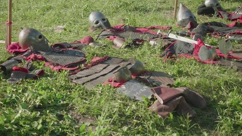 View of armor of ancient soldiers before reenactment of battle during festival