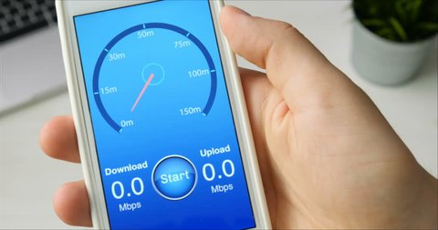 Testing internet speed using smartphone application - fast connection